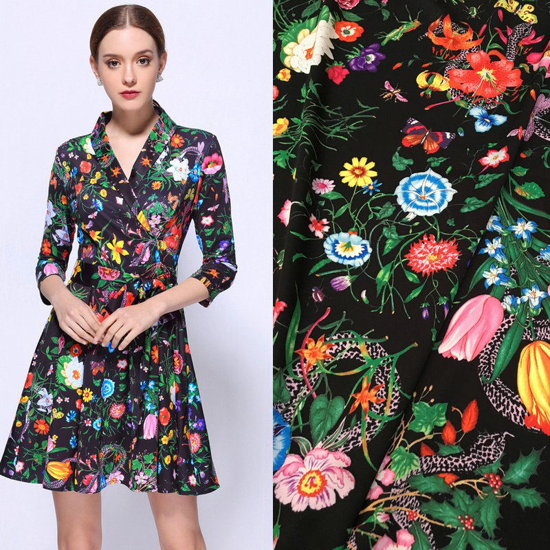 polyester silk satin fabric,flowers and snake print silk stretch satin fabric,fashion women dress imitate silk fabric tissue