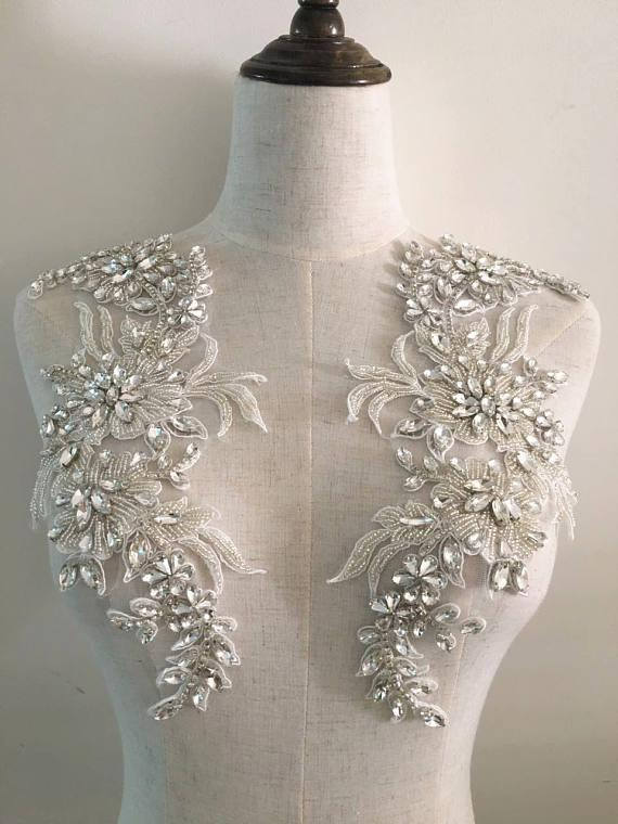 2018 new bridal rhinestones applique, bead glass rhinestone applique with vintage design, haute couture wedding collar