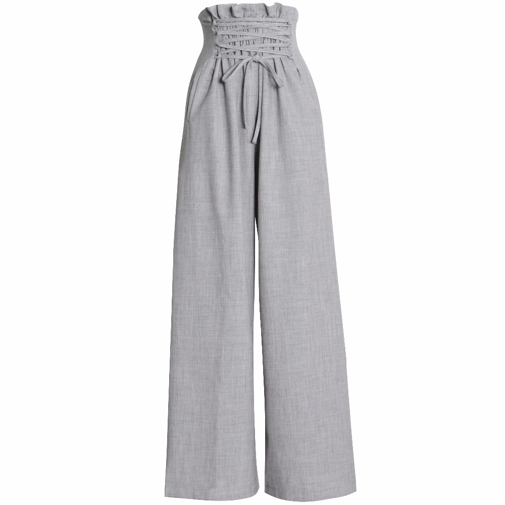 Women fashion High Waist   Wide     Leg     Pants   Elastic Waist Loose casual   pants