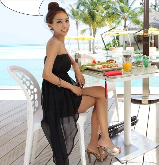 2017 Summer New Women Korean Seaside Beach Resort Wear Y Las Chiffon Dress Bra