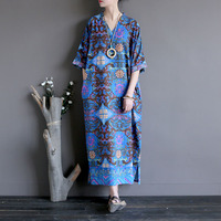 Vintage Soft Cotton Linen Long Women Summer Dress Casual Printed Floral Dresses Five-part Loose sleeves flap open robe Dress