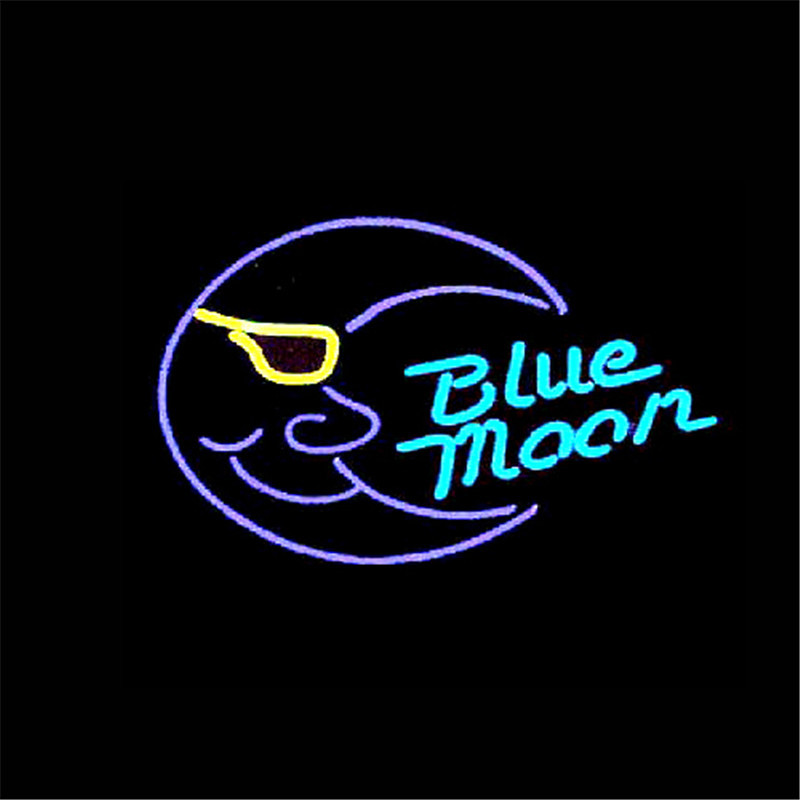 NEON SIGN For BLUE MOON Signboard REAL GLASS BEER BAR PUB