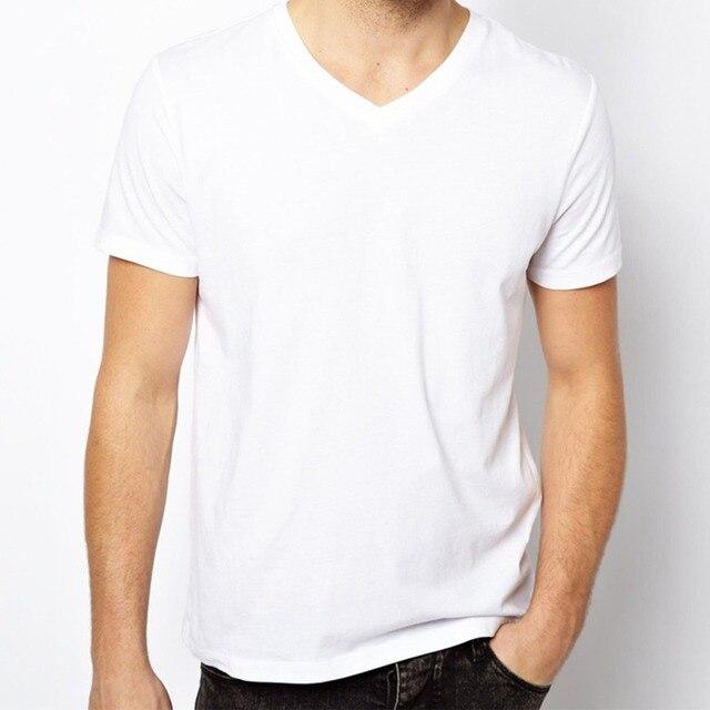 Free Shipping Solid T Shirts Men Blank T Shirt V Neck Short Sleeve ...