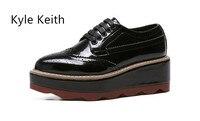 Kyle Keith Women Wings Vintage Oxford Lace Up White Black Metallic Striped Platform Vintage Oxford Flat