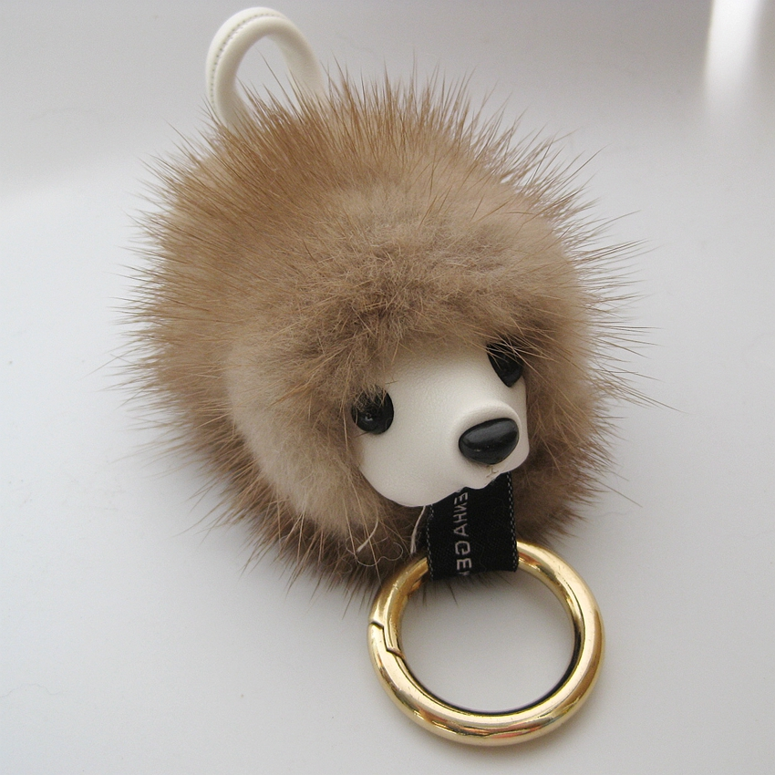 Genuine mink fur keychain Cute gedgehog Wealth bag bug pendant accessories  charm animal monster pompon key chains -in Key Chains from Jewelry    Accessories ... ca6021c10c91