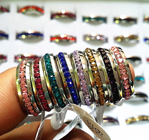 Image 1 - New 36PCs One Row Rhinestone Full Circle Stainless Steel Band Rings Multi Color wholesale lots
