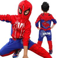 2018 kids 3 pcs/sets Autumn spring Baby boys' novelty spiderman hooded Waistcoats Tee Pants sets For 4 12 years Children