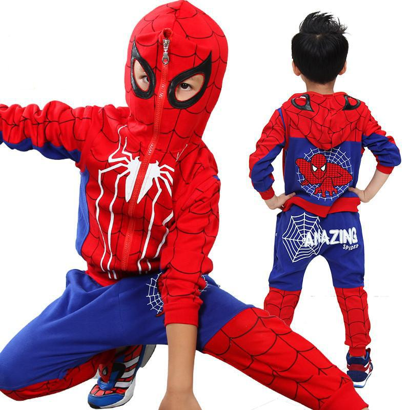 2018 kids 3 pcs/sets Autumn spring Baby boys' novelty spiderman hooded Waistcoats Tee Pants sets For 4-12 years Children
