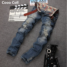 Хип-хоп Джинсы высокого качества мужская мода хабар Декоративные отверстия прямые джинсы Бекхэм брюки Канье Уэст Дэвид Бекхэм Cooo Coll