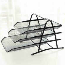 File Tray A4/3 Layer Data Frame Metal File Tray Iron Mesh Three-layer File Tray(China)