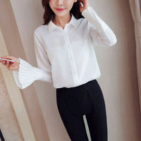 CT295 Spring Fashion Solid Turn Down Collar Flare Sleeve Open Women Blouse Slim Office Business Blouses
