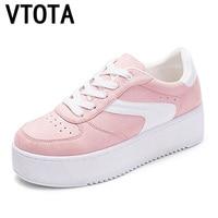 VTOTA Vulcanized Shoes Sneakers Ladies Lace Up Canvas Shoes Autumn White Mesh Casual Walking Platform Studetn Slinge Shoes H164