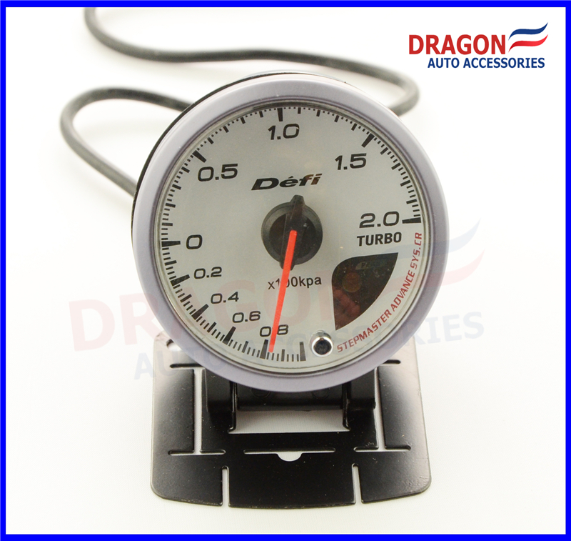 60mm CR Style Boost Turbo Gauge 2 0BAR White face With Orange White Led Display Auto