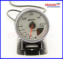 60mm CR Style Boost Turbo Gauge 2.0BAR White face With Orange & White Led Display Auto Car