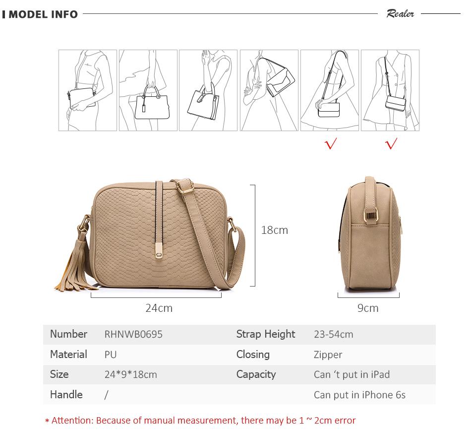 REALER brand small shoulder bag for women messenger bags ladies PU leather handbag purse tassels female crossbody bag women 2019 4