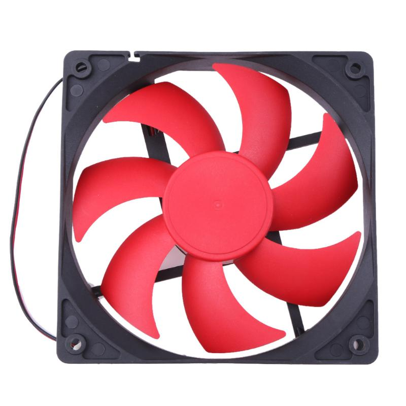 Mini 120x120x25mm 12cm Silent Computer Cooler DC 12V 1800+ RPM 2Pin Cooling Fan with Red Black Two Lines for PC Computer computer cooler radiator with heatsink heatpipe cooling fan for hd6970 hd6950 grahics card vga cooler