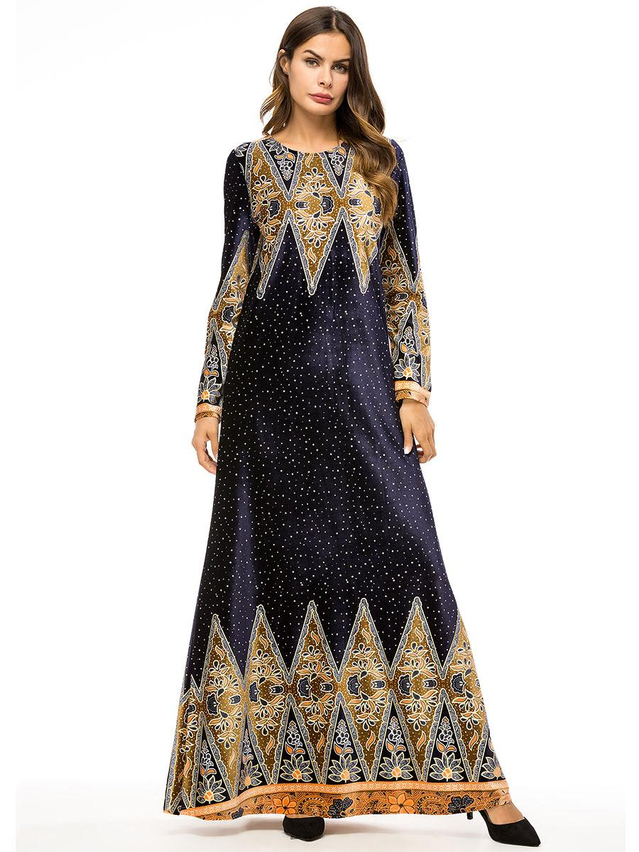 Women Maxi Muslim Dress Abaya Jilbab Floral Printed O-neck Party Cocktail Elegant Ethnic Style Kaftan Turkey Islamic Clothing