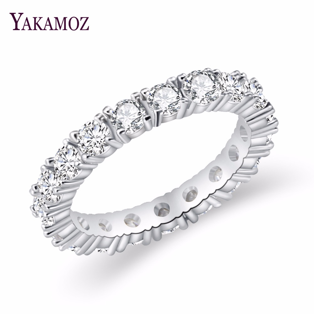 2017 Luxury Brand Jewelry White  Color Inlay Cubic Zirconia Unique Shaped Ring For Women Wedding Engagement Size(China)