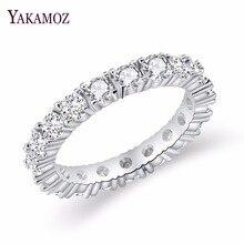 2017 joyería de marca de lujo Color blanco embutido cúbico Zirconia forma única anillo para las mujeres boda compromiso tamaño