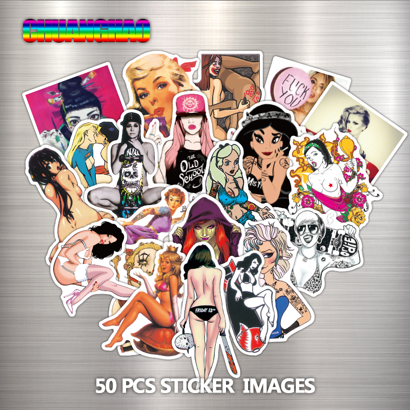 50 pcs lot Sexy Beauty Girls Vulgar Laptop Stickers Car Motorcycle Luggage Skate Toy Home Phone
