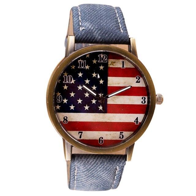 Luxury Watch Women American Flag pattern Leather Band Analog Vogue Wrist Quartz