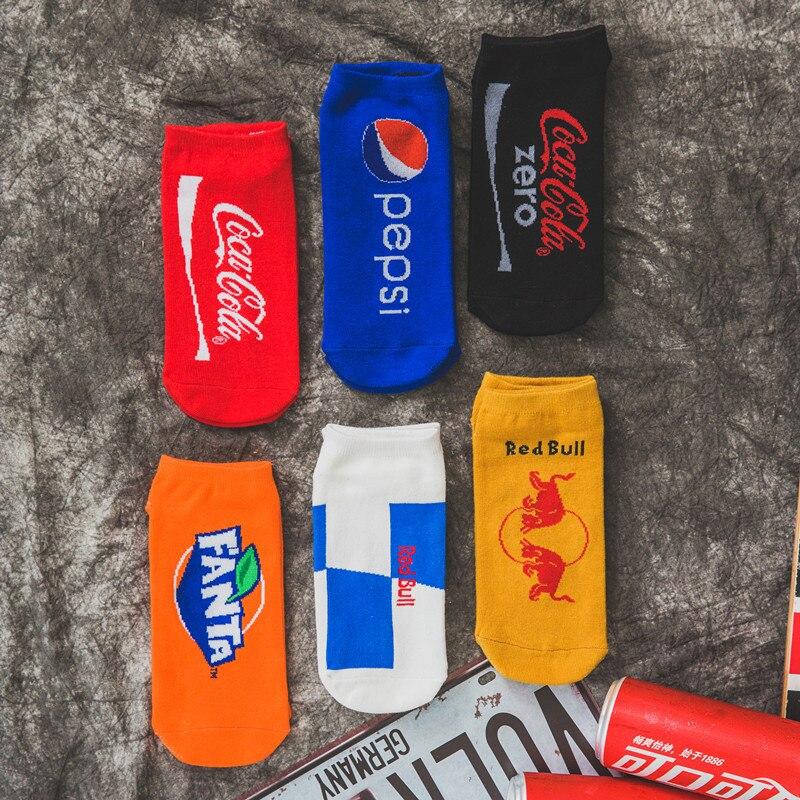 Ehrlich Sommer Kühlen Original Design Trinken Skateboard Boot Socken Atmungsaktive Soft Pepsi Coca Cola Gemusterten Kühlen Alle Baumwolle Kurze Socken