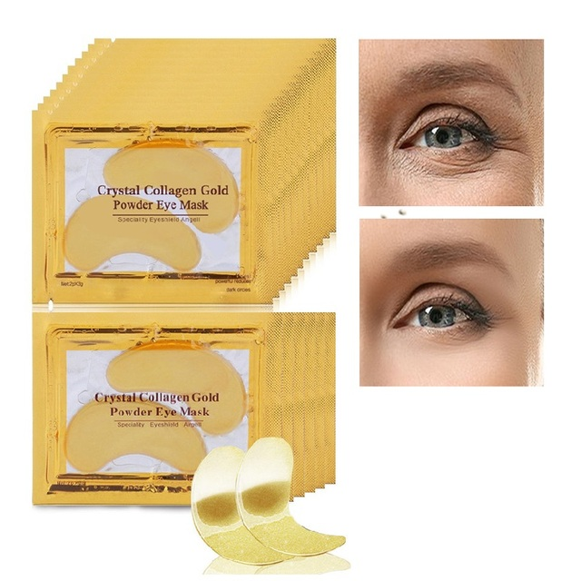 20Pcs=10Pairs Beauty Gold Crystal Collagen Eye Mask Patches For Eye Acne Remove Black Eye Mask Skin Care Korean Cosmetics