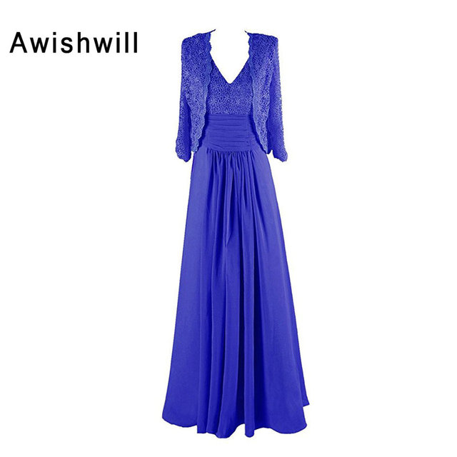 e666b0f33c New Arrival Royal Blue V neck Elegant Lace Chiffon Mother of the ...