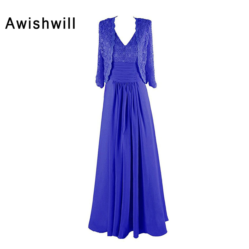 New Arrival Royal Blue V neck Elegant Lace Chiffon Mother of the Bride Dress with font