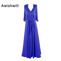 New Arrival Royal Blue V Neck Elegant Lace Chiffon Mother Of The Bride Dress With Jacket