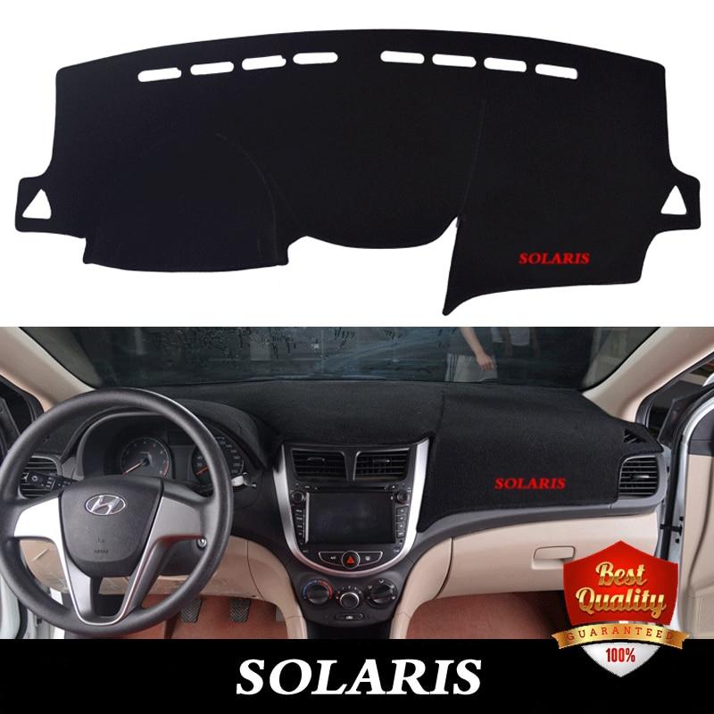 For HYUNDAI Solaris 2010 2016 Dashboard Protective Mats Shade Cushion font b Interior b font Carpet