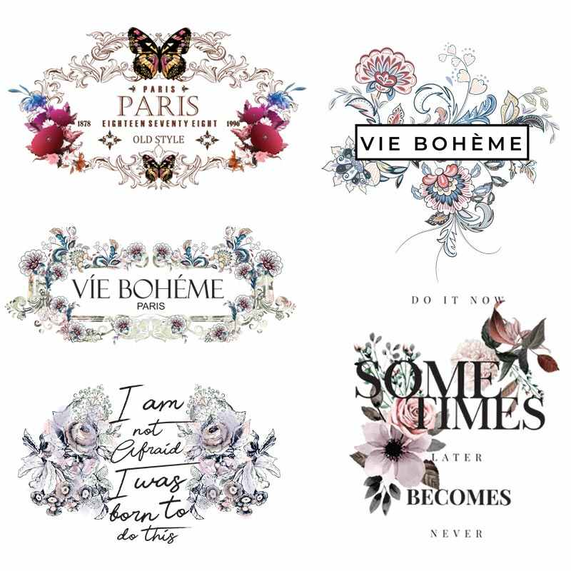 Beautiful Flower Iron On Heat Transfer DIY Women T-shirt Clothing Patches Washable Accessory Sticker On Clothes Set Z-12