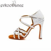 Evkoodance Zapatos De Baile girl Satin Black Tan Red Purple 10cm women Latin Ballroom Salsa Dance Shoes For Ladies Evkoo-068