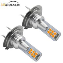 2pcs H11 H8 7W LED Canbus 12SMD 3030 H7 Bulbs White 6000K Yellow for car Fog Light Replacement Non-polarity 12V 24V