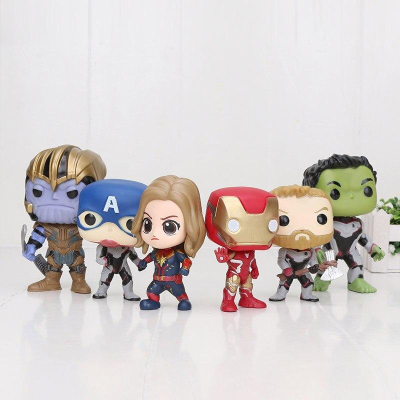 Endgame Figure Thor Thanos Captain America Hulk Iron Man Carol Danvers Quantum Suit PVC Action Figure Toy