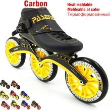 Corrida de carbono termoplástico skate 3 roda 125mm calor moldável patins inline velocidade homem mulher profissional rolki skate