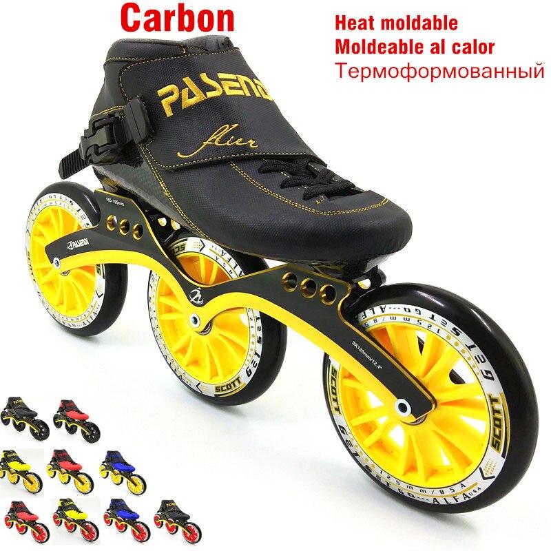 Patin de course en carbone thermoplastique 3 roues 125mm patins à roulettes moulables à la chaleur vitesse homme femmes patin professionnel rolki