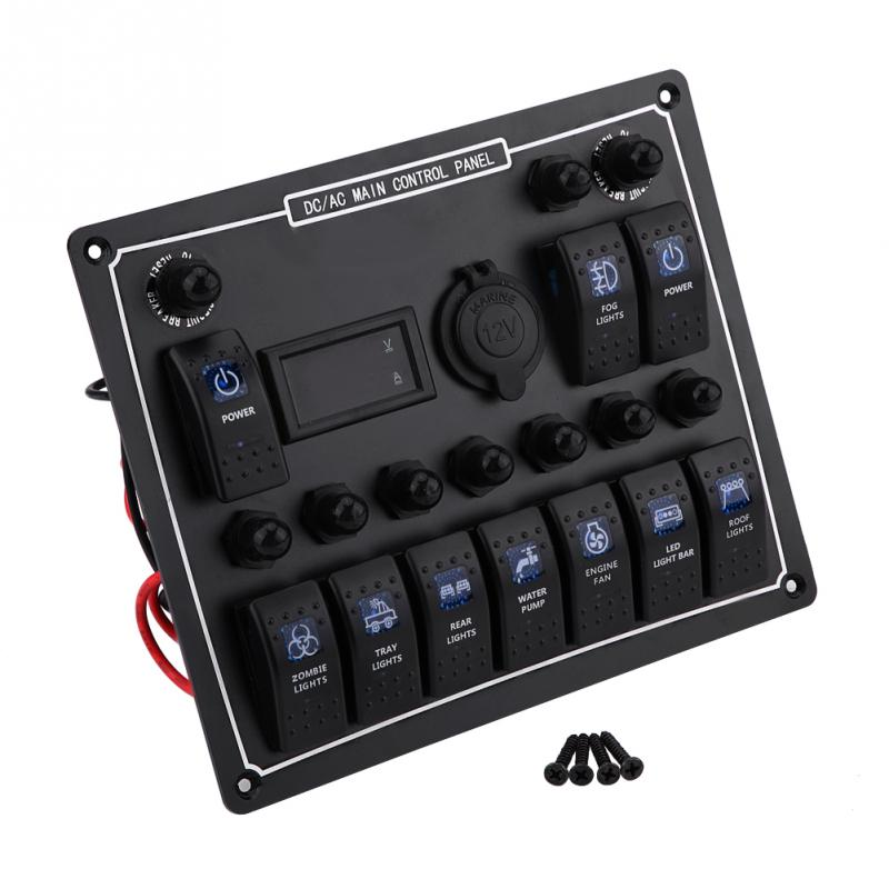 10 Gang LED AC/DC Rocker Switch Panel Dual Power Control Overload Protection for Car Auto Boat 15a dc output car auto boat marine led ac dc rocker switch waterproof panel dual power control overload protection