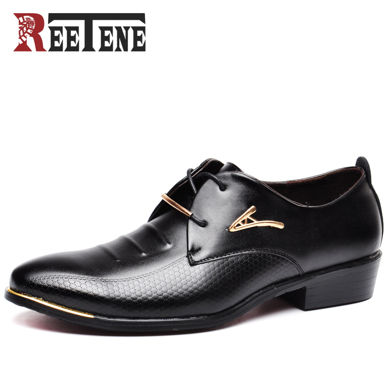 REETENE Hot Sale Men Dress Shoes Soft Pointed Toe Classic Fashion Business Oxford Shoes For Men Loafers New Men Leather Shoes 2016 new hot sale straight business fashion denim good quality men jeans retail