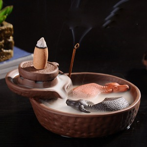 Image 3 - Hot Purple Clay Smoke Backflow Incense Ceramic Burner Sticks Holder Cone Lucky 2 Cattles Living Tea Room Smell Removing Too