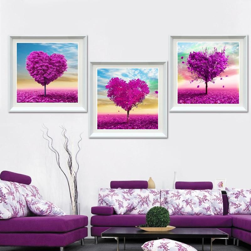 ①Glymg costura 5d DIY Cuadros de punto de cruz árbol de amor ...