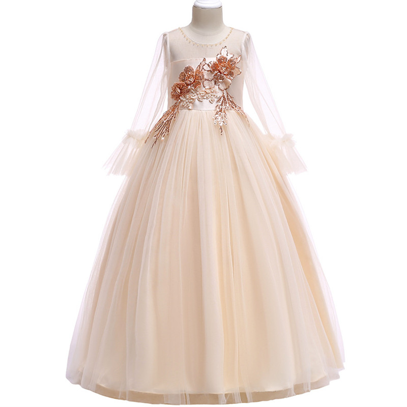 Spring teens Long Dress Children Flower girl Long Sleeve Wedding Princess Dress Embroidered Beading Sequins Host Dress pearl beading eyelet embroidered cuff tiered dress