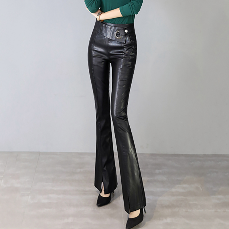 Autumn Faux leather High waist Pants Women Ladies OL Office Flare Pants Streetwear Harajuku PU Trousers Pantalon Mujer