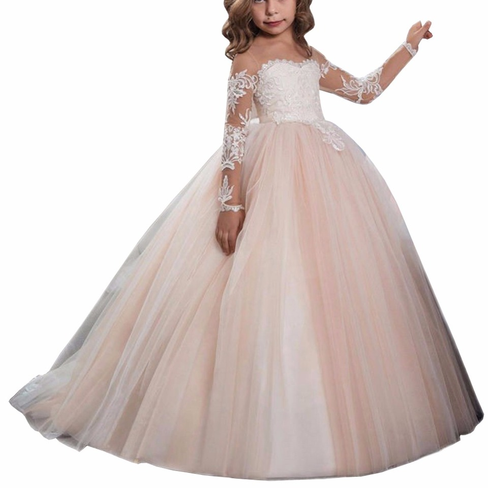 Zyllgf Robe Petite Fille D Honneur Mariage Ball Gown Girls Dresses For Party And Wedding Long Sleeve Pageant Dress For Girl Fp30 Flower Girl Dresses Aliexpress