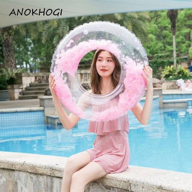 De características dentro de las mujeres piscina inflable inflables anillos transparente playa Color caramelo fiesta piscina círculo para los niños SR20