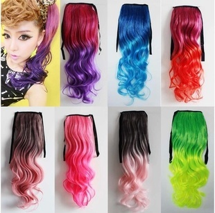 "1PC+Free Shipping Two Tone Colors Rope Ponytail 110G 24"" 19Different Colors Drawstring Ponytails Curly Wavy Synthetic Ponytail"
