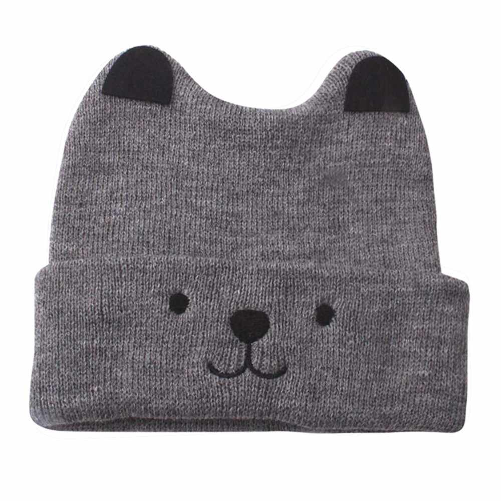 6f48fab0451 ... New Autumn baby boy and girl knit hat winter baby warm bear cartoon cap  children wool ...