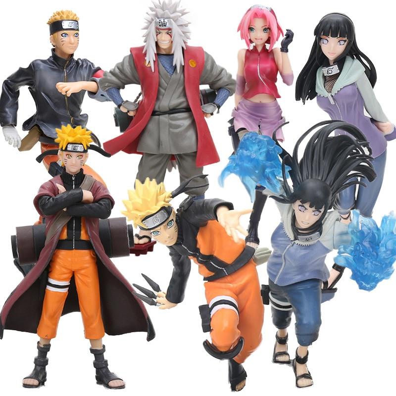 Naruto Shippuden Uzumaki Naruto Gals Hyuuga Hinata Jiraiya Haruno Figurine Naruto PVC Figures Toy Collection Model Dolls(China)