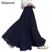 EdspLovd 2018 New Fashion Summer Beach Big Swing Elastic Wasit Maxi Skirt 2 Layers Long Lining Skirt AS210