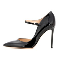 Amourplato Ladies Womens Handmade 100mm Heel Pointed Toe D'orsay Court Shoes Buckle Closure Pumps High Heel Party Evening Shoes
